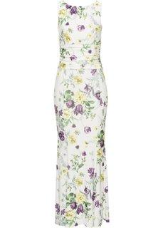 Платье с цветочным принтом (кремовый) Bonprix