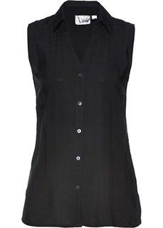 Блузка без рукавов из вискозы (черный) Bonprix