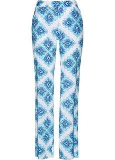 Брюки с принтом на резинке (белый/синий с рисунком) Bonprix