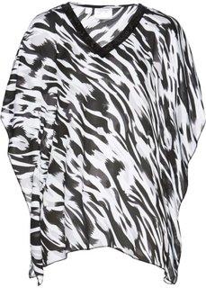Туника с принтом (черный/белый с рисунком) Bonprix