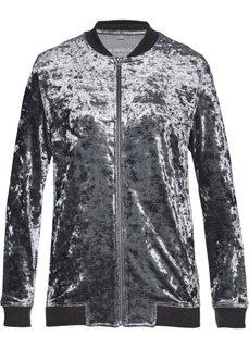 Бархатная трикотажная куртка (серый с блеском) Bonprix