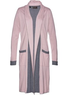 Вязаное пальто (розовый матовый/серый меланж) Bonprix