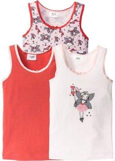 Майка (3 шт.) (цвет белой шерсти/розовый/ярко-розовый) Bonprix