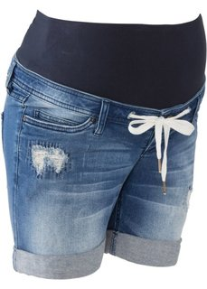 Для будущим мам: джинсовые шорты на шнурках (синий «потертый») Bonprix