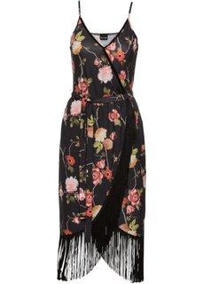 Платье с бахромой (черный с рисунком) Bonprix
