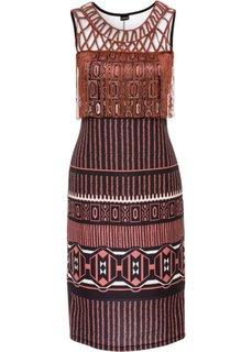 Платье с бахромой (бордово-коричневый с рисунком) Bonprix