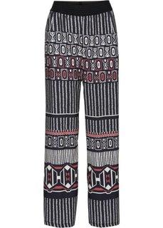 Широкие брюки (черный с рисунком) Bonprix