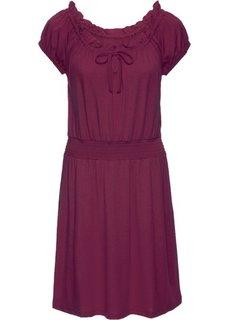 Трикотажное платье с коротким рукавом и открытыми плечами (красная ягода) Bonprix