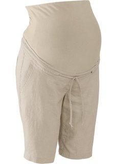 Для будущих мам: льняные шорты (песочный) Bonprix