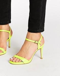Лакированные сандалии на каблуке цвета лайм Faith Liberty - Зеленый