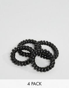 Комплект из 4 черных пластмассовых резинок для волос ASOS - Черный