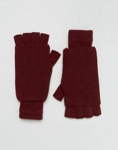 Бордовые перчатки без пальцев ASOS - Красный