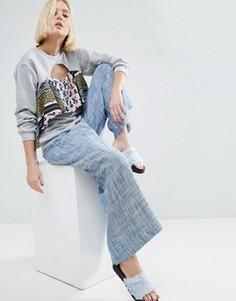 Юбка-брюки из шамбре с запахом ASOS Made In Kenya - Синий