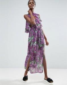 Платье макси с крупным цветочным принтом и оборками ASOS Made In Kenya - Мульти