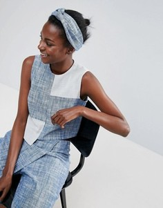 Повязка на голову из ткани шамбре ASOS Made In Kenya - Синий