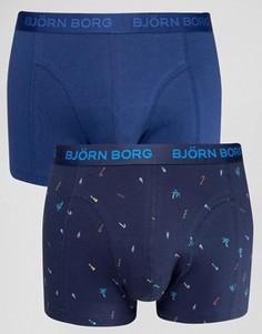 Боксеры-брифы с пляжным принтом (2 шт.) Bjorn Borg - Темно-синий