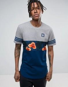 Удлиненная футболка с принтом adidas Skateboarding BJ8723 - Серый