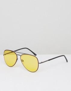 Солнцезащитные очки-авиаторы с желтыми стеклами ASOS - Желтый