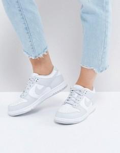 Серые низкие кроссовки с белыми вставками Nike Dunk - Белый