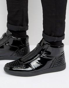 Черные лакированные кроссовки на молнии ASOS - Черный