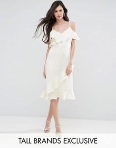 Платье миди на бретелях с открытыми плечами и оборками Y.A.S Studio Tall Fielle - Кремовый
