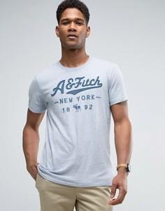 Голубая футболка с логотипом из флока Abercrombie & Fitch - Синий