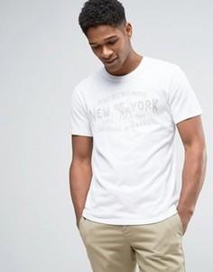 Белая футболка с флоковым логотипом Abercrombie & Fitch - Белый