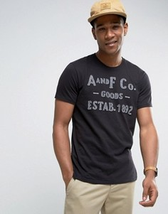 Черная футболка с флоковым логотипом Abercrombie & Fitch - Черный