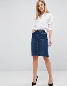 Джинсовая юбка со ступенчатым краем Blank NYC - Синий