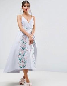 Платье миди для выпускного со вставками и вышивкой ASOS SALON - Мульти