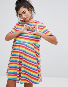 Разноцветное платье-футболка Lazy Oaf Sally - Мульти