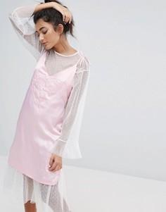 Атласное платье на бретельках Lazy Oaf Dream On - Розовый