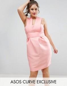 Платье с лифом-бандо ASOS CURVE SALON - Розовый