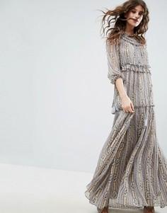 Кружевное платье макси с рюшами Needle & Thread - Серый