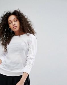 Свитшот с тремя полупрозрачными полосками adidas Originals - Белый