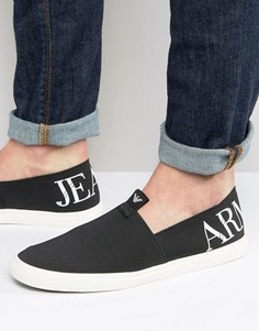 Черные кеды-слипоны с логотипом Armani Jeans - Черный