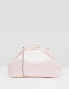Атласный клатч на скрытом каркасе ASOS WEDDING - Розовый