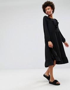 Платье миди с оборками Monki - Черный