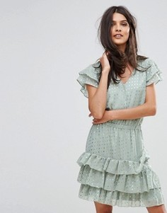 Платье в золотистый горошек Y.A.S Snowa - Зеленый