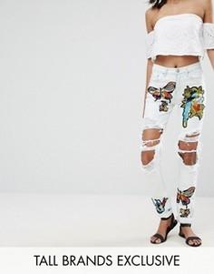 Рваные джинсы с нашивками Glamorous Tall - Мульти