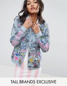 Джинсовая куртка с принтом Glamorous Tall - Синий