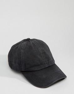 Выбеленная черная бейсболка с винтажным эффектом 7X - Черный