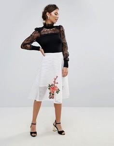 Юбка-трапеция миди с цветочной вышивкой Amy Lynn - Белый