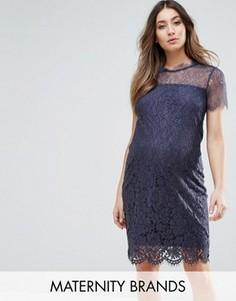 Кружевное облегающее платье Mamalicious - Темно-синий Mama.Licious