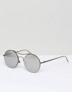 Солнцезащитные очки-авиаторы с зеркальными стеклами в круглой оправе Pieces Kaitlyn - Серебряный