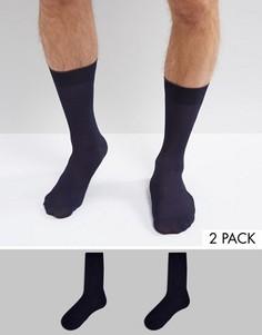 2 пары темно-синих носков в рубчик ASOS - Темно-синий