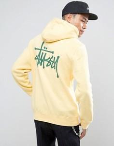 Худи с логотипом на спине Stussy - Желтый