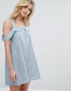 Платье на пуговицах с вырезами на плечах Influence - Синий