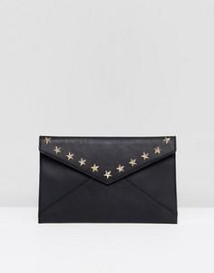 Клатч-конверт со звездами Yoki - Черный