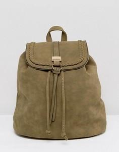 Рюкзак оливкового цвета с плетеной отделкой Yoki Fashions - Зеленый